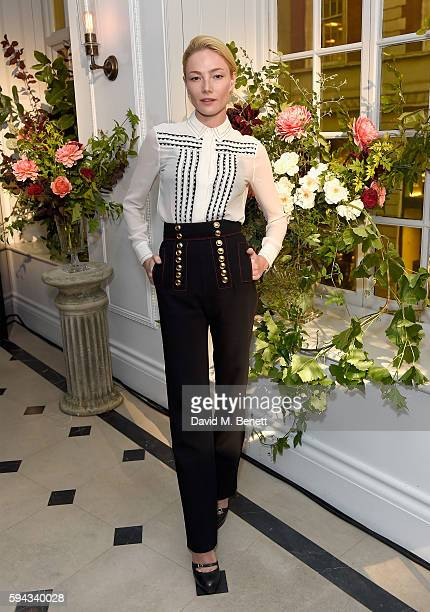 Clara Paget attends an event hosted by Lily James to celebrate the launch of My Burberry Black at Burberry's all day cafe Thomas's on August 22 2016...