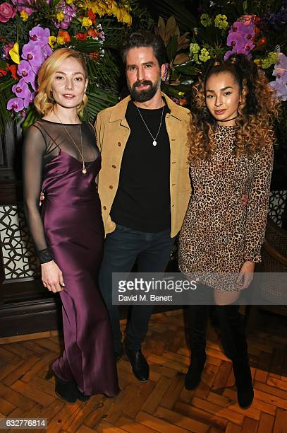 Clara Paget Jack Guinness and Ella Eyre attend the launch of new luxury hotel The LaLit London on January 26 2017 in London England