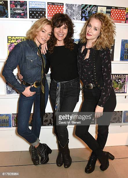 Clara Paget Jess Morris and Portia Freeman attend the Rockins popup launch at Harrods on October 25 2016 in London England