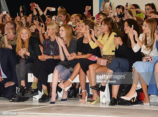 Clara Paget, Laura Bailey, Laura Carmichael, Pixie Geldof, Alexa Chung, Jessie Ware, Harley Viera Newton attend the Topshop Unique SS15 Front Row on...