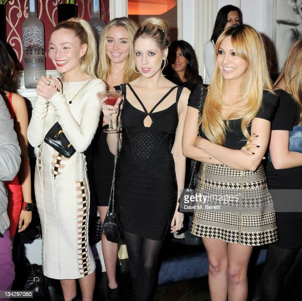 Clara Paget Noelle Reno Peaches Geldof and Zara Martin attend the Herve Leger Winter Party at Dorsia on November 30 2011 in London England