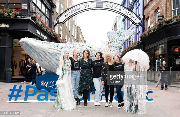 Clara Paget Princess Eugenie Pixie Geldof Jo Wood and Jaime Winstone attend a photocall on Carnaby street for the launch of 'Pass on Plastic' an...