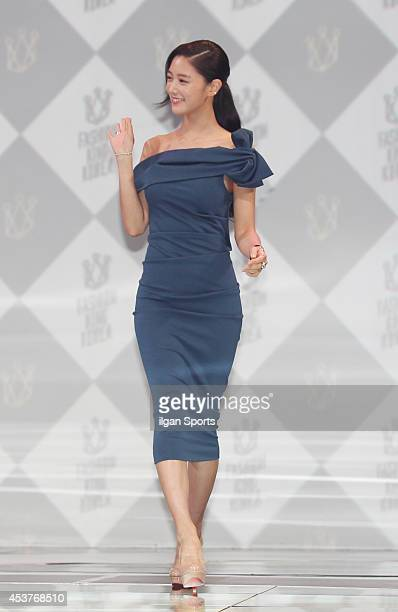 Clara poses for photographs during the Fashion King Korea 2 press conference at SBS Prism Tower on August 13 2014 in Seoul South Korea