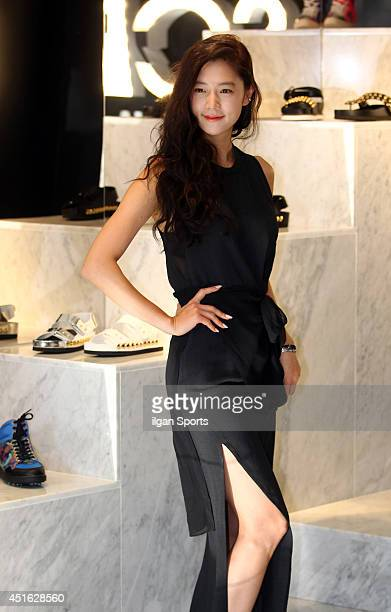 Clara poses for photographs during the SUECOMMA BONNIE flagship store launching event at Cheongdamdong on June 26 2014 in Seoul South Korea