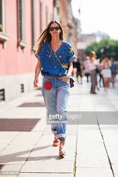 Clara Racz wears a vintage denim outfit poses on June 21 2015 in Milan Italy