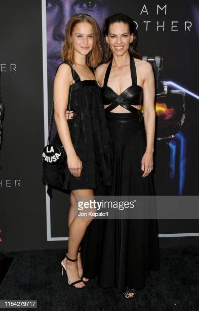 Clara Rugaard and Hilary Swank attend the LA Special Screening Of Netflix's I Am Mother at ArcLight Hollywood on June 06 2019 in Hollywood California