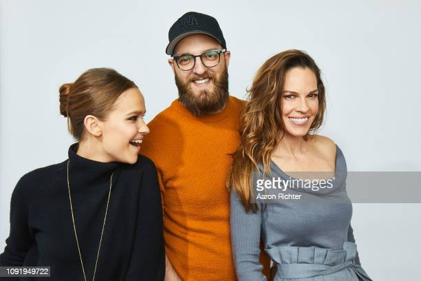 Clara Rugaard Grant Sputore and Hilary Swank from 'I Am Mother' pose for a portrait in the Pizza Hut Lounge in Park City Utah on January 26 2019 in...