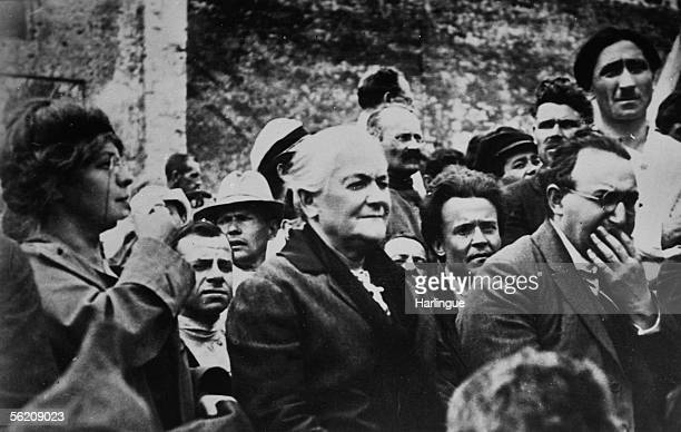 Clara Zetkin German politician in Moscow during a military parade