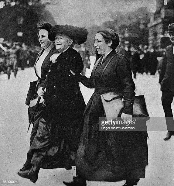 Clara Zetkin German politician leaving the Reichstag with her two collaborationists Berlin 1920