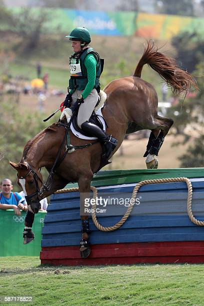 Clare Abbott of Ireland riding Euro Prince clears a jump during the Cross Country Eventing on Day 3 of the Rio 2016 Olympic Games at the Olympic...