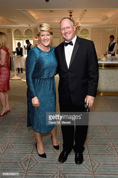 Clare Balding and Steve Harman attend the Highclere Thoroughbred Racing Royal Ascot preview evening at Fortnum Mason on June 9 2016 in London England