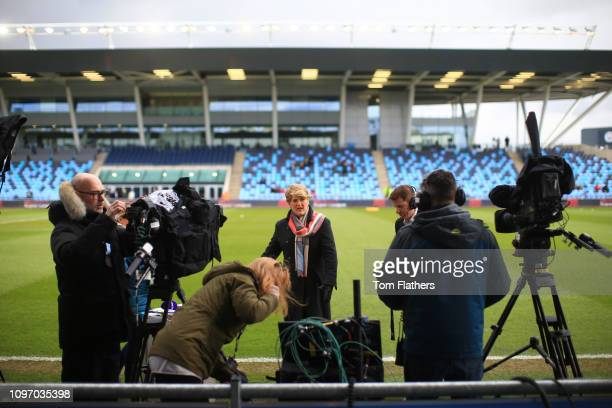 Clare Balding and the media crew prepare at the WSL 1 match between Manchester City Women and Chelsea Women at Manchester City Football Academy on...