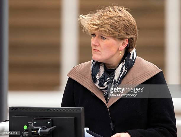Clare Balding at work during her first live racing broadcast for Channel 4 Racing at the Festival Trials Day at Cheltenham Racecourse on January 26...
