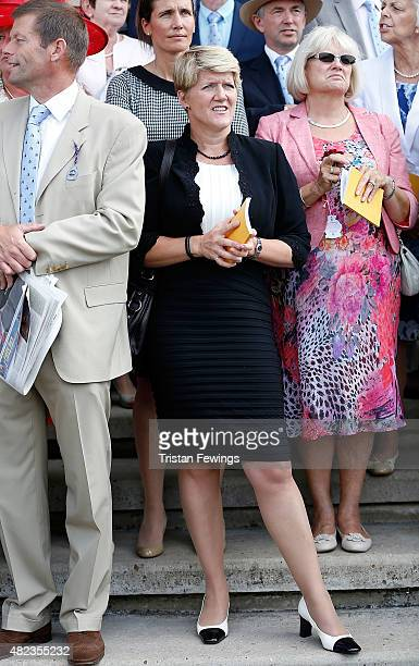 Clare Balding attends day three of the Qatar Goodwood Festival at Goodwood Racecourse on July 30 2015 in Chichester England