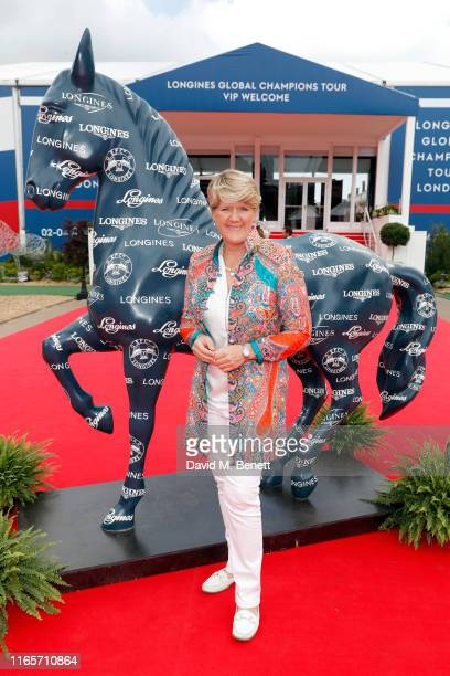 Clare Balding attends the Longines hospitality lounge during the Global Champions Tour at Royal Hospital Chelsea on August 02 2019 in London England