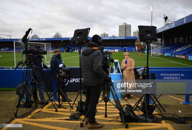 Clare Balding, BT Sport Presenter is seen working at the side of the pitch prior to the Barclays FA Women's Super League match between Chelsea Women...