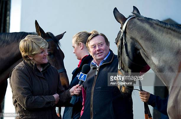 Clare Balding chats with Nicky Henderson as Channel 4 Racing broadcast its first programme produced by IMG at Nicky Henderson's Seven Barrows Stables...
