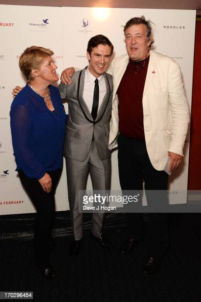 Clare Balding Dan Stevens and Stephen Fry attend a gala screening of 'Summer In February' at The Curzon Mayfair on June 10 2013 in London England