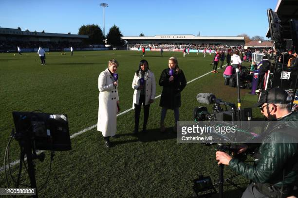 Clare Balding Danielle Carter and Rachel BrownFinnis report pitchside for BT Sport ahead of the Barclays FA Women's Super League match between...