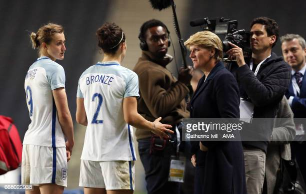 Clare Balding interviews Ellen White and Lucy Bronze of England Women after the Women's International Friendly match between England and Austria at...