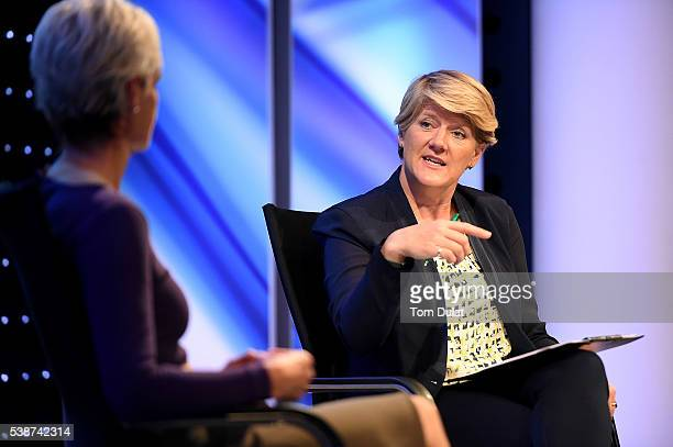 Clare Balding interviews Judy Murray during the Sport Industry Breakfast Club on June 8 2016 in London England
