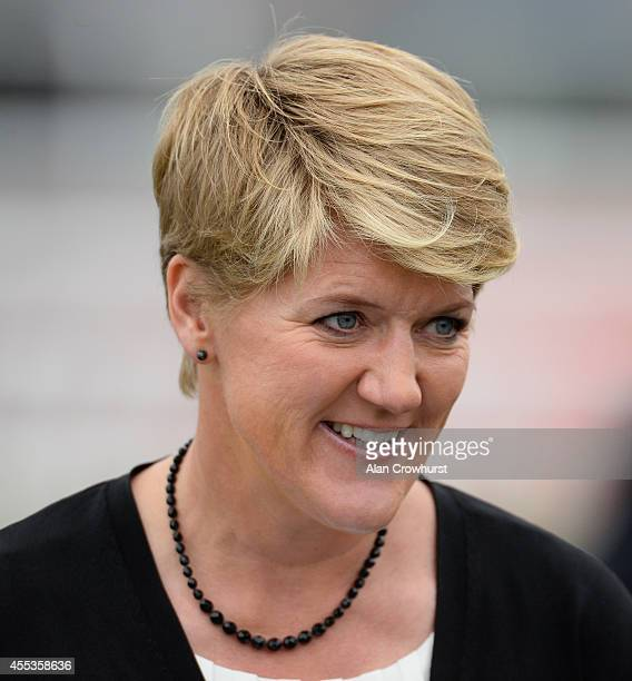 Clare Balding poses at Doncaster racecourse on September 13 2014 in Doncaster England