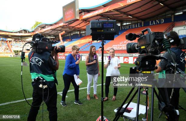 Clare Balding reports pitch side for Channel 4 television before the UEFA Women's Euro 2017 match between Germany and Italy at Koning Willem II...