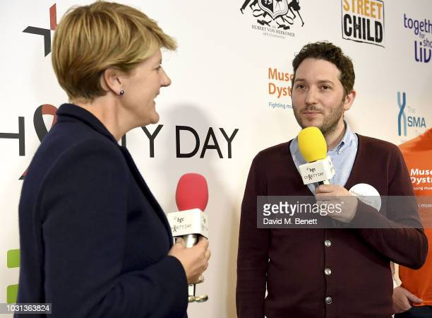 Clare Balding representing the Paralympics GB talks with Jon Richardson representing Muscular Dystrophy during BGC Charity Day at One Churchill Place...