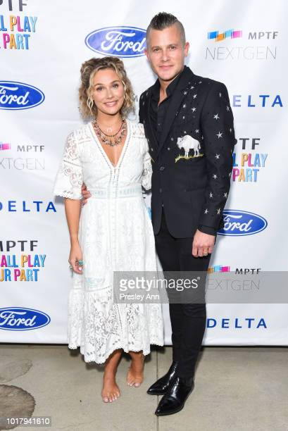 Clare Bowen and Brandon Robert Young attend MPTF's Annual NextGen Summer Party at Paramount Pictures on August 16 2018 in Los Angeles California