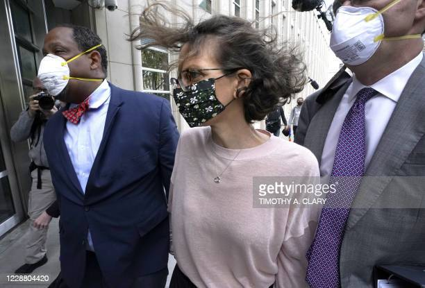 Clare Bronfman arrives at US District court in Brooklyn, New York on September 30, 2020 to be sentenced for her role in NXIVM, a group that...