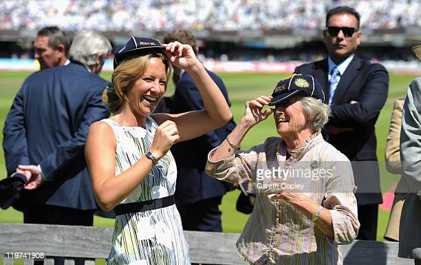 Clare Connor and Lady Heyhoe Flint receive caps in honour of the centenary England India test match during day four of the 1st npower test match...