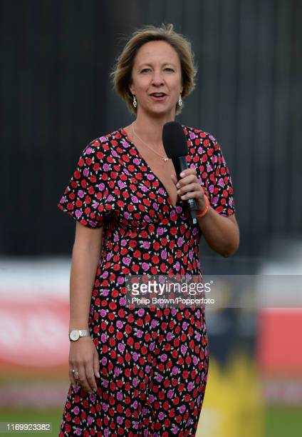 Clare Connor managing director of Women's cricket makes a presentation before the Kia Super League 2019 Final between Western Storm and Southern...