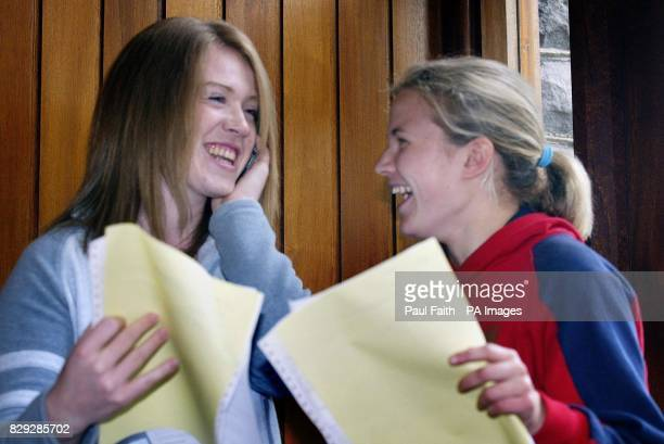 Clare Dundee and Leigh Whiteside receive their Alevel results at Ballyclare High School Co Antrim Northern Ireland's latest Alevel results have been...