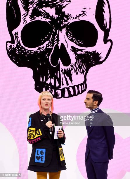 Clare Farrell and Imran Amed speak during #BoFVOICES on November 21, 2019 in Oxfordshire, England.