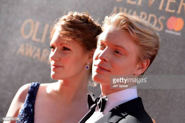 Clare Foster and Freddie Fox attend The Olivier Awards 2017 at Royal Albert Hall on April 9 2017 in London England