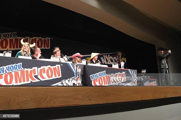 Clare Grant Matthew Senreich Breckin Meyer and Seth Green attend The Adult Swim RobotChicken Panel At New York Comic Con 2014 at Jacob Javitz Center...