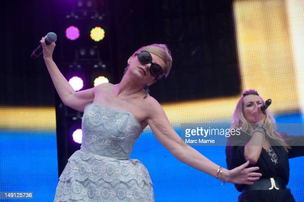 Clare Grogan performs on stage with Altered Images during Rewind Scotland the 80's music festival at Scone Palace on July 22 2012 in Perth United...