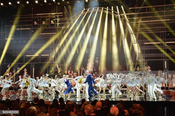 Clare Halse Ashley Day and the cast of 42nd Street perform on stage during The Olivier Awards with Mastercard at Royal Albert Hall on April 8 2018 in...