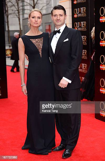 Clare Harding and Tom Chambers attends The Laurence Olivier Awards at The Royal Opera House on April 28 2013 in London England