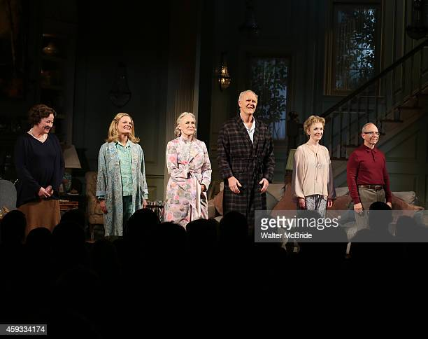 Clare Higgins Martha Plimpton Glenn Close John Lithgow Lindsay Duncan and Bob Balaban during a tearful Opening Night Curtain Call for 'A Delicate...