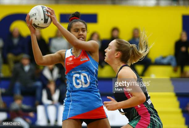 Clare Iongi of the Waratahs in action during the Australian Netball League third place playoff between the NSW Waratahs and Victoria Fury at the ACT...