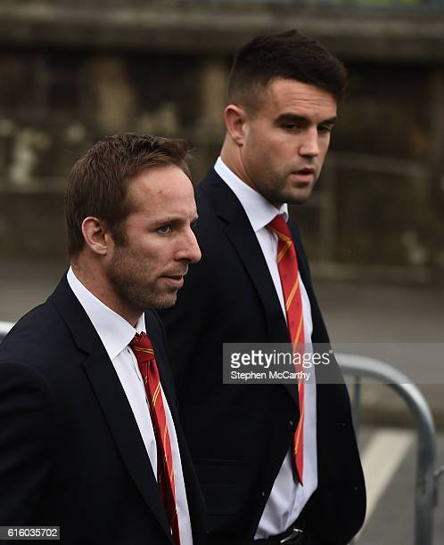 Clare Ireland 21 October 2016 Munster players Tomas O'Leary and Conor Murray right arrive for the funeral of Munster Rugby head coach Anthony Foley...