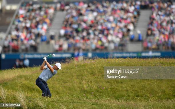 Clare , Ireland - 4 July 2019; Justin Harding of South Africa plays his second shot on the 18th hole during day one of the 2019 Dubai Duty Free Irish...