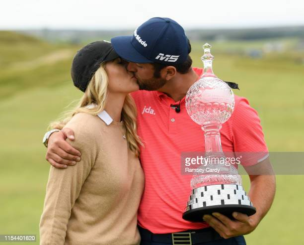 Clare Ireland 7 July 2019 Jon Rahm of Spain and his fiancee Kelley Cahill with the trophy following his victory on day four of the 2019 Dubai Duty...
