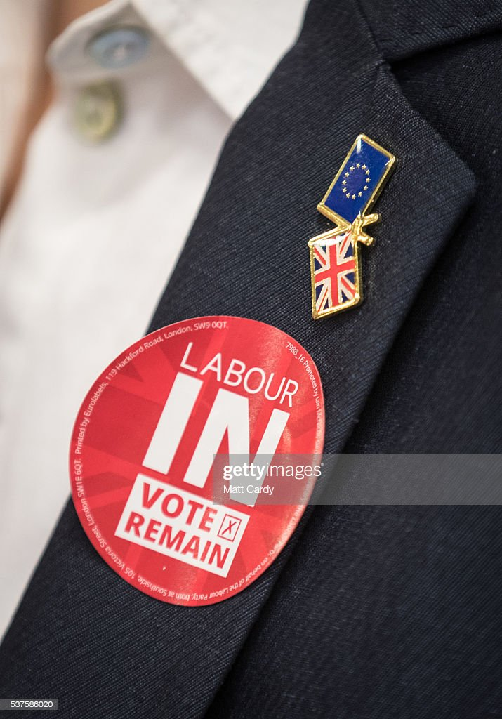 Clare moody labour mep for south west and gibraltar wears a sticker during a visit