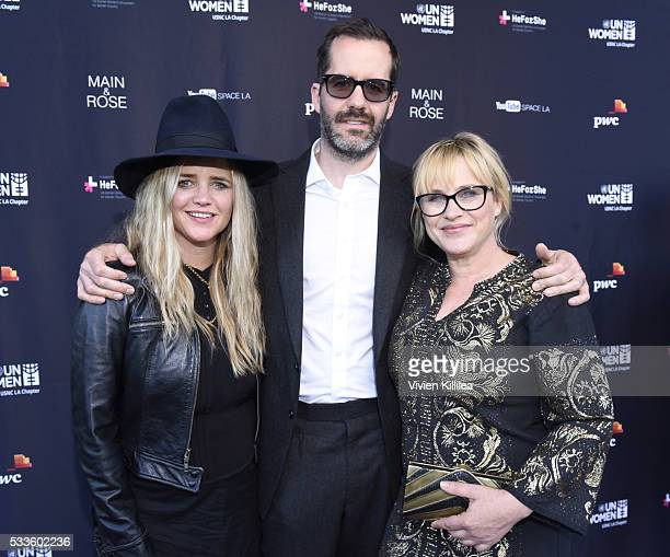 Clare Munn artist Eric White and actress Patricia Arquette attend the UN Women USNC LA Media Summit in support of #HeForShe at YouTube Space LA at...