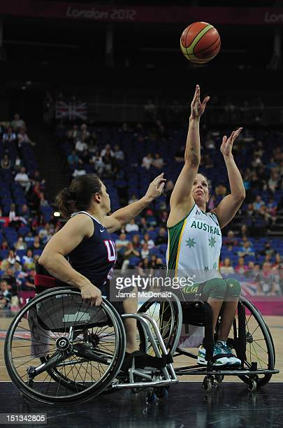 Clare Nott of Australia shoots during the Women's Semi Final Wheelchar Basketball match between USA and Australia on day 8 of the London 2012...