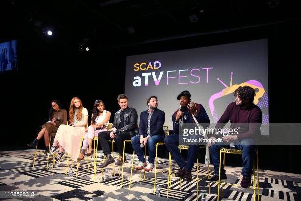 Clare O'Connor Nikki M James Riley Smith Danny Strong Russell Hornsby and David Elliot speak onstage at Proven Innocent QA during SCAD aTVfest 2019...