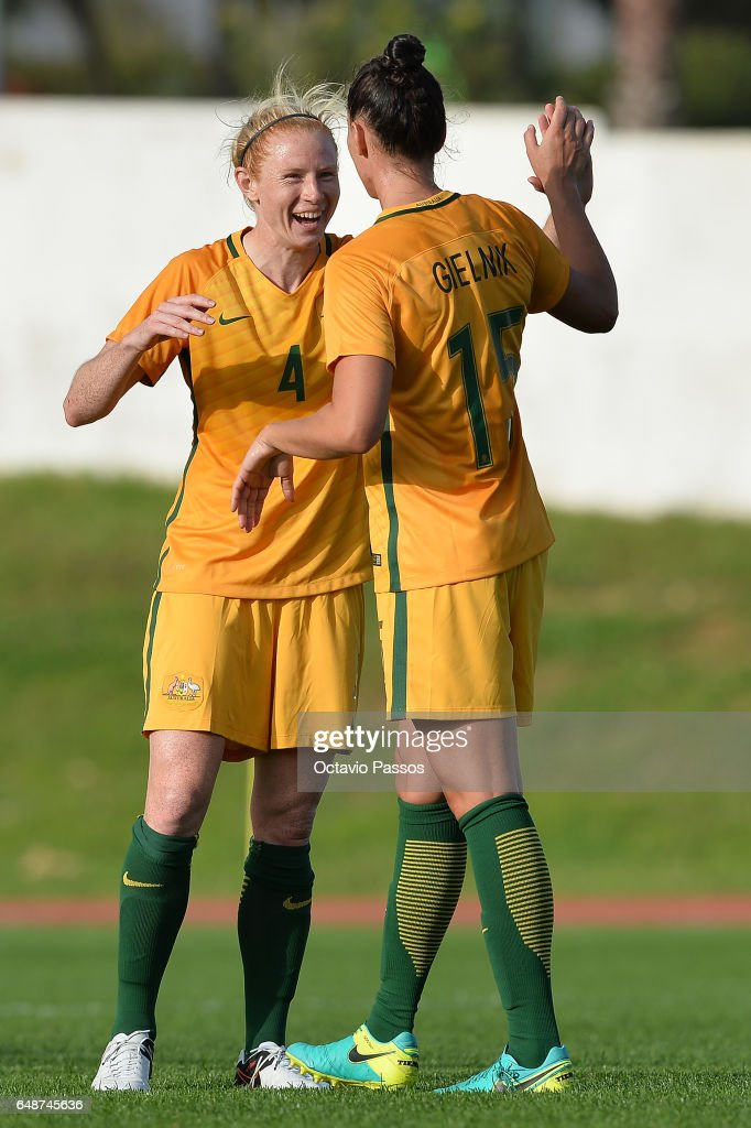 Clare Polkinghorne (L) and Emily Gielnik of Australia celebrate the victory at the end of the Women's Algarve Cup Tournament match between China and Australia at Municipal de Albufeira on March 6, 2017 in Albufeira, Portugal.