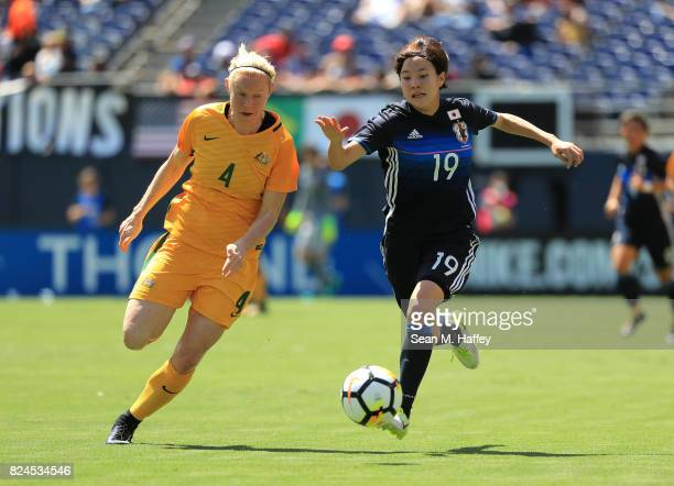 Clare Polkinghorne defends against Hikaru Kitagawa of Japan of Australia during the first half of a match in the 2017 Tournament of Nations at...
